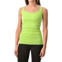 Rib-Knit Lace-Trim Tank Top (For Women) in Lime - 2nds