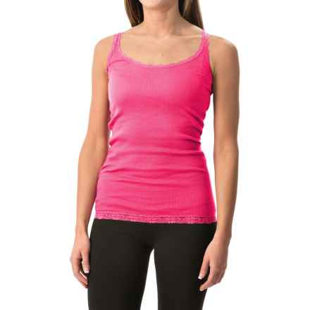 Rib-Knit Lace-Trim Tank Top (For Women) in Neon Pink - 2nds