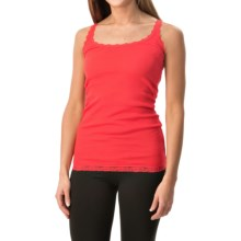 Rib-Knit Lace-Trim Tank Top (For Women) in Orange - 2nds