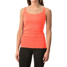 Rib-Knit Lace-Trim Tank Top (For Women) in Peach - 2nds