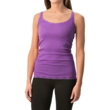Rib-Knit Lace-Trim Tank Top (For Women) in Purple - 2nds