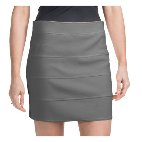 Ribbed Bandage Mini Skirt - Zip Back (For Women) in Grey