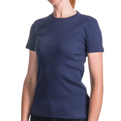 Ribbed Cotton T-Shirt - Crew Neck, Short Sleeve (For Women) in Navy