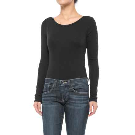 Ribbed Scoop Neck Bodysuit - Long Sleeve (For Women) in Black - 2nds