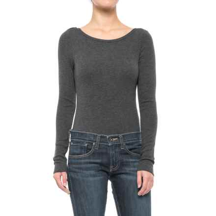 Ribbed Scoop Neck Bodysuit - Long Sleeve (For Women) in Grey - 2nds