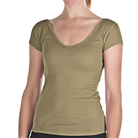 Ribbed Tissue Cotton V-Neck Shirt - Short Sleeve (For Women) in Army