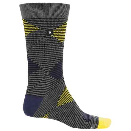 Richer Poorer Optic Argyle Socks - Crew (For Men) in Charcoal - Closeouts
