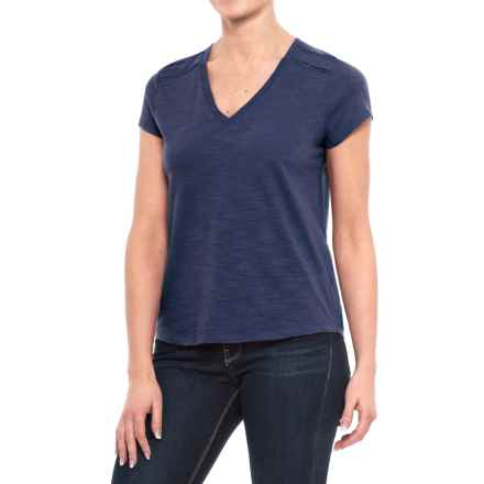 Ricrac Trim V-Neck Shirt - Short Sleeve (For Women) in Navy - 2nds