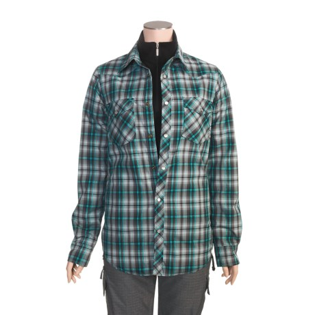Ride Snowboard Wanda Riding Jacket (For Women) in Wanda Plaid Electric Teal