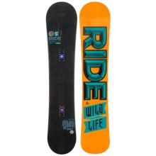 Ride Snowboards Wild Life Snowboard (For Men) in 155 Black/Orange Black Turquoise Logo - Closeouts