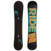 Ride Snowboards Wild Life Snowboard (For Men) in 159W Black/Black Turquoise Orange Logo - Closeouts