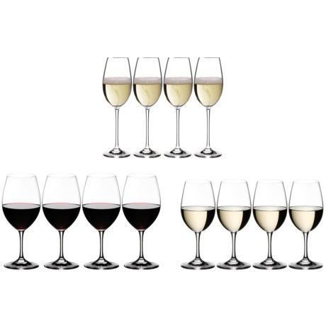 Riedel Ouverture Red White and Champagne Wine Glasses Set of 12 4 of each