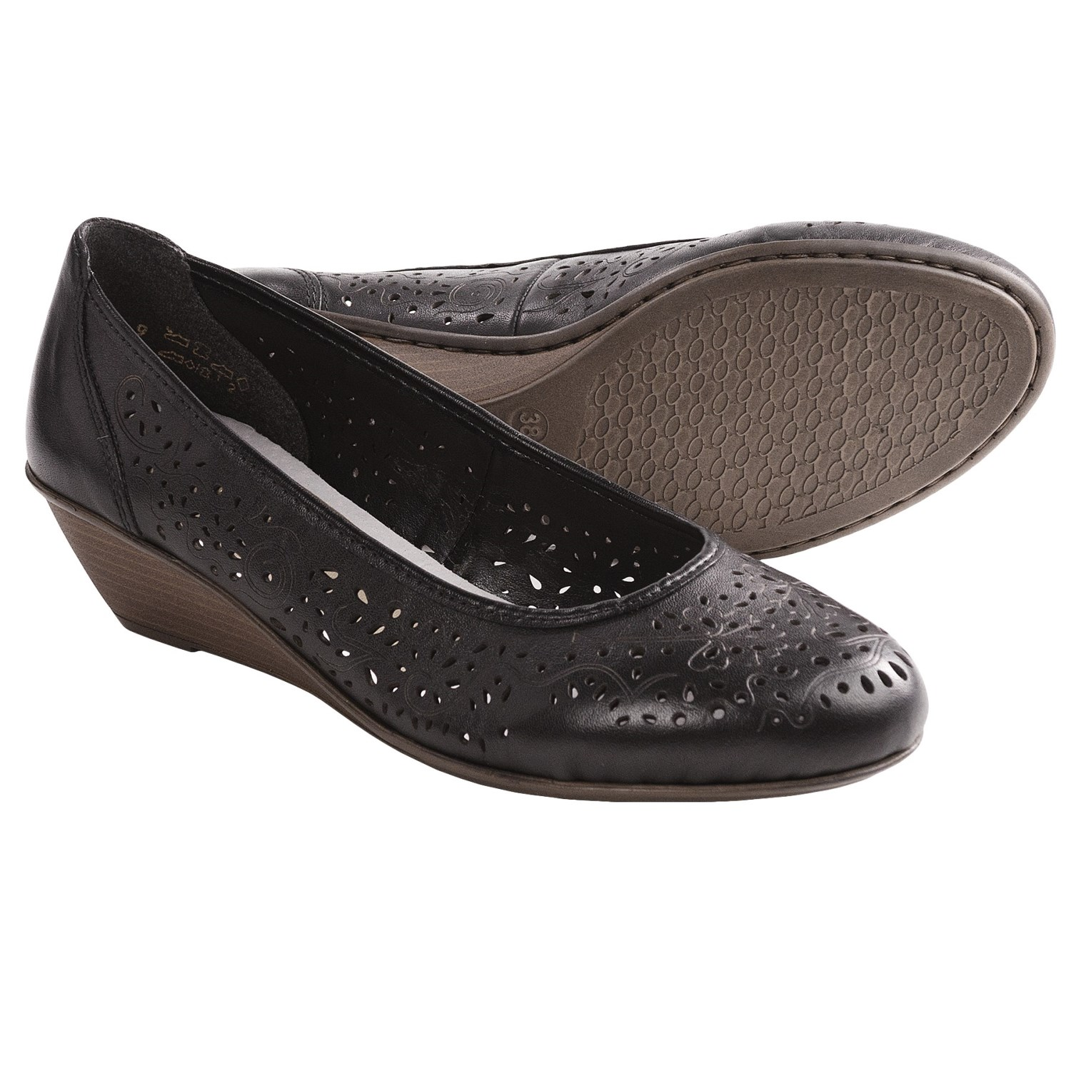 rieker 65 shoes leather wedge heel for