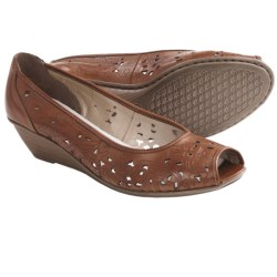 Rieker Mary 66 Shoes - Leather, Peep Toe, Wedge Heel (For Women) in Brown