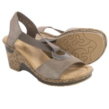Rieker Roberta 62 Wedge Sandals - Leather (For Women) in Grey/Beige - Closeouts
