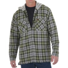 Riggs Workwear by Wrangler Flannel Work Jacket - Insulated, Attached Hood (For Men) in Forest Green/Black - Closeouts