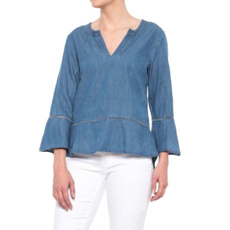 River & Rose Bell Sleeve Split Neck Shirt - Long Sleeve (For Women) in Medium Wash