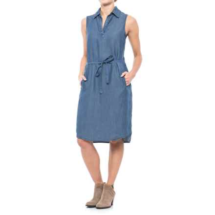 River & Rose Belted Chambray Dress - Sleeveless (For Women) in Medium Wash - Closeouts