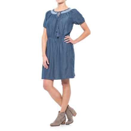River & Rose Chambray Peasant Dress - Short Sleeve (For Women) in Medium Wash - Closeouts
