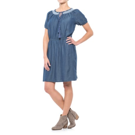 River & Rose Chambray Peasant Dress - Short Sleeve (For Women) in Medium Wash