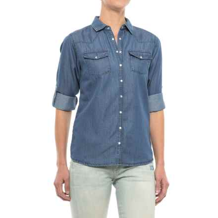 River & Rose Chambray Shirt - Snap Front, Long Sleeve (For Women) in Medium Wash - Closeouts