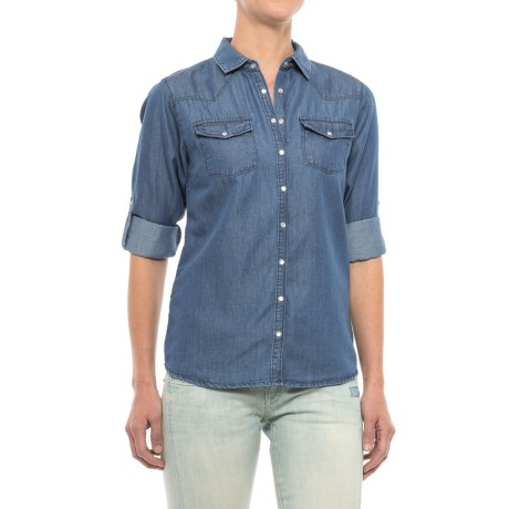 River & Rose Chambray Shirt - Snap Front, Long Sleeve (For Women) in Medium Wash