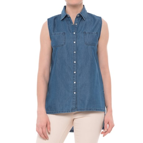 River & Rose Cotton-Blend Snap-Front Shirt - TENCEL®, Sleeveless (For Women) in Medium Wash