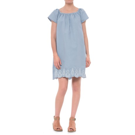 River & Rose Embroidered Peasant Dress - Short Sleeve (For Women) in Chambray Wash