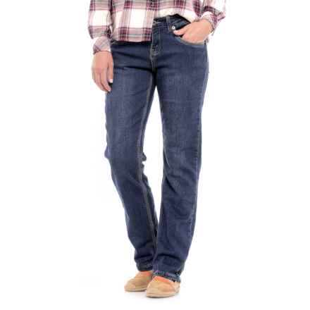 River & Rose Flannel-Lined Jeans - Relaxed Fit, Straight Leg (For Women) in Dark Blue - Closeouts