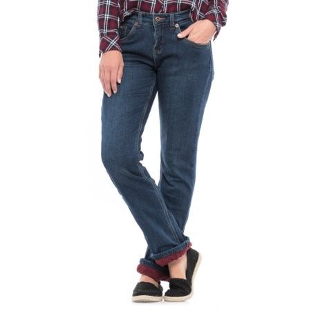 River & Rose Fleece-Lined Jeans - Relaxed Fit, Straight Leg (For Women) in Dark Blue