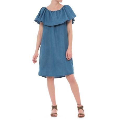 River & Rose Flutter-Sleeve Peasant Dress - Short Sleeve (For Women) in Medium Wash