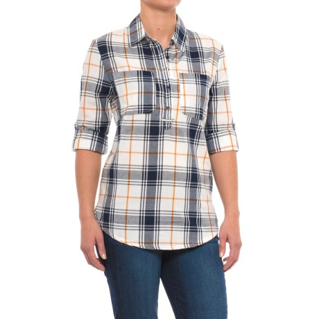 River & Rose Plaid Two-Pocket Tunic Shirt - Roll-Up Long Sleeve (For Women) in Black/White Plaid