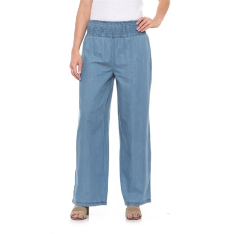 River & Rose Smocked Waist Pants (For Women) in Sky Wash