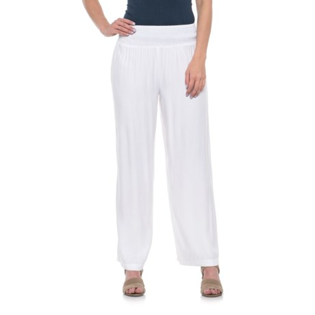 River & Rose Smocked Waist Pants (For Women) in White