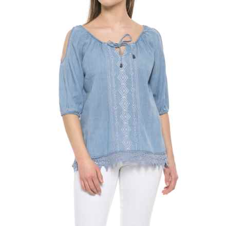 River & Rose Tie-Front Shirt - 3/4 Sleeve (For Women) in Chambray Wash - Closeouts