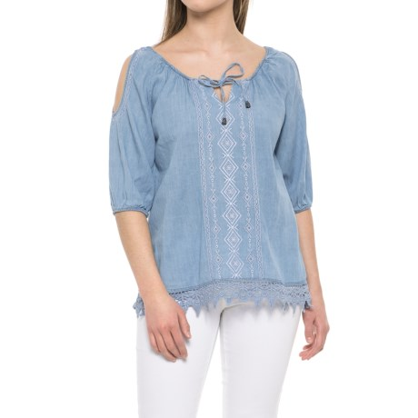 River & Rose Tie-Front Shirt - 3/4 Sleeve (For Women) in Chambray Wash