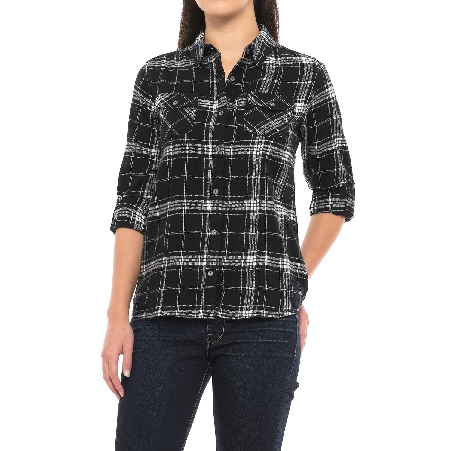 River rose two pocket flannel shirt for women save 68 for Girl in flannel shirt
