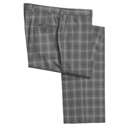 Riviera Armando Plaid Dress Pants - Wool, Flat Front (For Men) in Grey