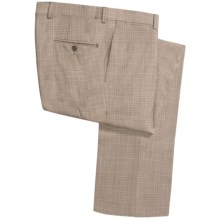 Riviera Armando Stretch Wool Plaid Pants - Flat Front (For Men) in Brown - Closeouts