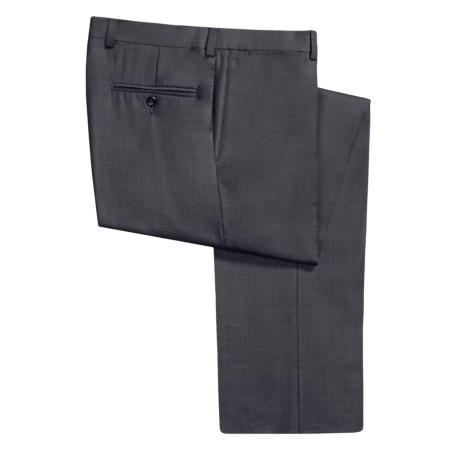 Riviera Armando Tonal Check Dress Pants - Wool (For Men) in Dark Taupe