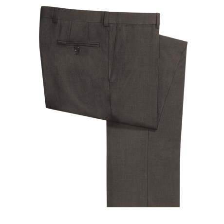 Riviera Armando Wool Mini-Check Pants - Flat Front (For Men) in Brown
