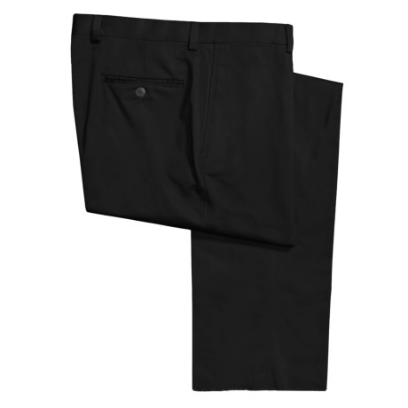 Riviera Cotton Twill Pants - Flat Front, Button Welt Pockets (For Men) in Black