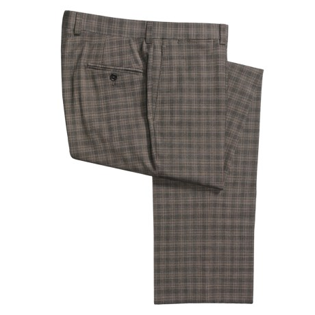 Riviera Harvey Plaid Dress Pants - Flat Front (For Men) in Brown