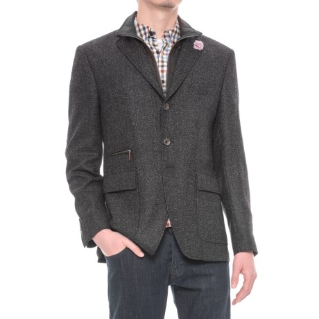 Riviera Red Hybrid Jacket - Zip-Out Bib (For Men) in Black Boucle