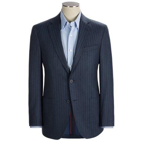 Riviera Red Panama Stripe Sport Coat - Wool Flannel, Modern Fit (For Men) in Blue