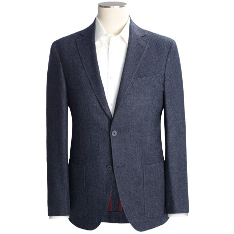 Riviera Red Panther Herringbone Sport Coat - Wool Blend, Modern Fit (For Men) in Navy