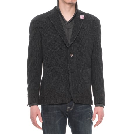 Riviera Red Unlined Jersey Blazer - Patch Pockets (For Men) in Black Herringbone