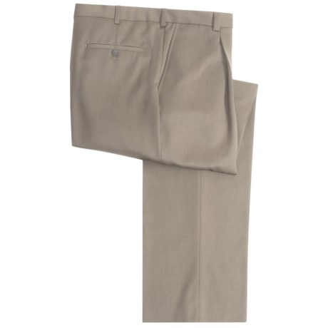 Riviera Simon Dress Pants - Wool Gabardine, Single Pleat (For Men) in Beige