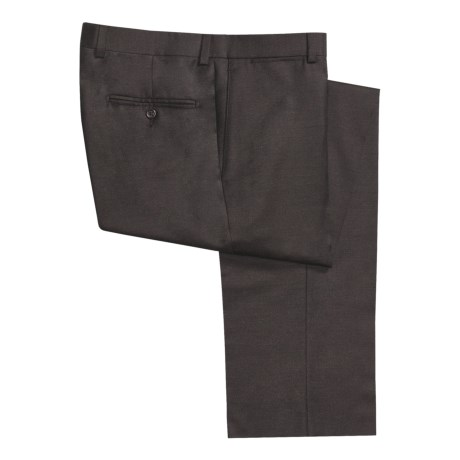 Riviera Worsted Wool Flannel Dress Pants - Flat Front (For Men) in Brown
