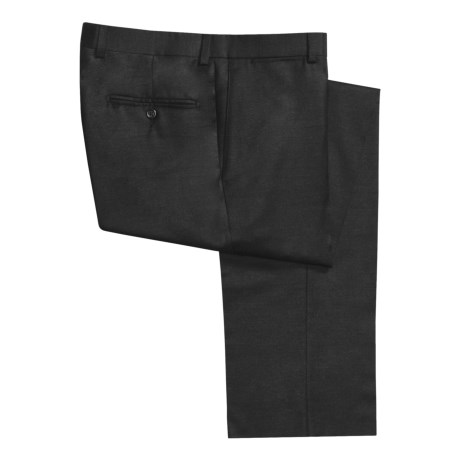 Riviera Worsted Wool Flannel Dress Pants - Flat Front (For Men) in Medium Grey